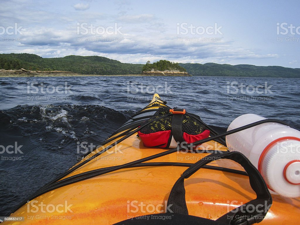 Kayaking in the waves stock photo