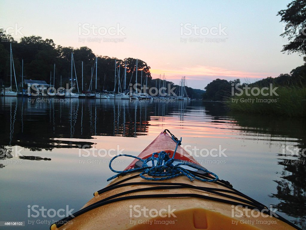 Kayaking on a Quiet Cove stock photo