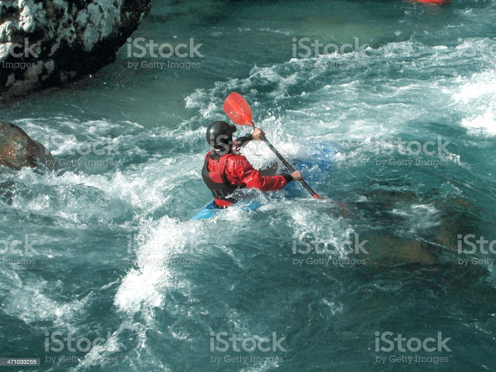 Kayaking on a river royalty-free stock photo