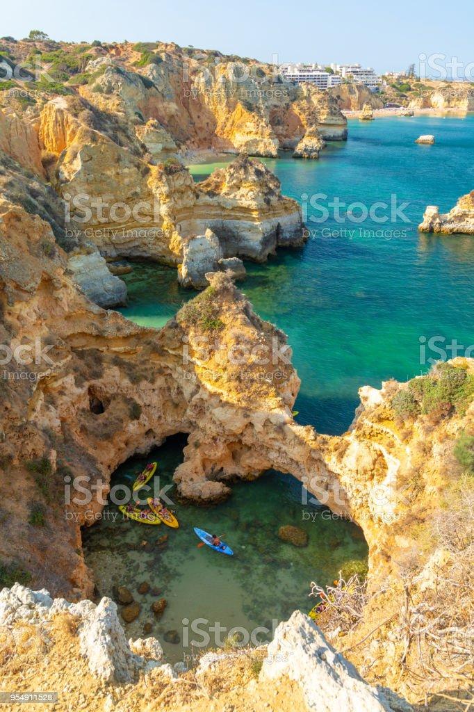 Kayaking on Atlantic ocean on Algarve coast in Lagos, Portugal - fotografia de stock