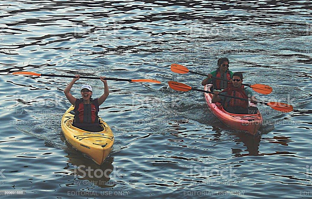 Kayaking on Charles River in Boston stock photo