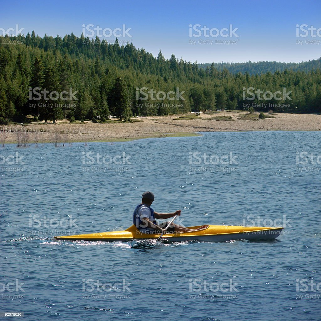 Kayaking on Lake royalty-free stock photo