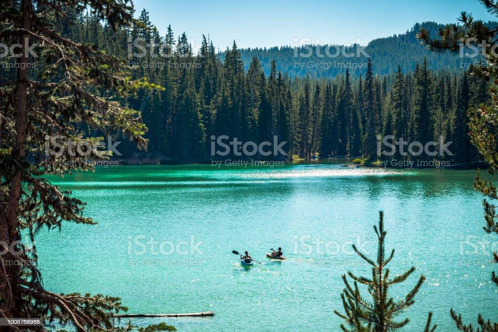 Kayaking on Oregon Lake stock photo