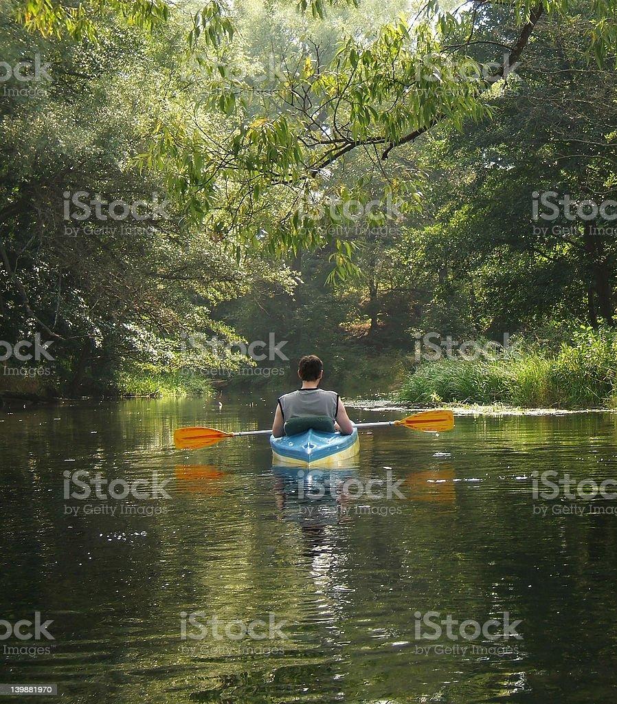 kayaking on river royalty-free stock photo