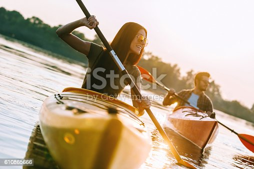 istock Kayaking on river. 610865666