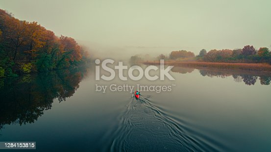 istock Kayaking on the Huron River on a foggy fall morning 1284153815
