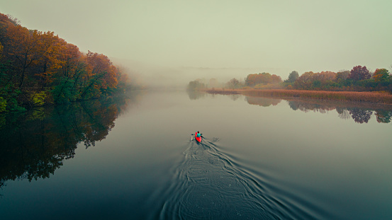 Kayaking on the Huron River on a foggy fall morning