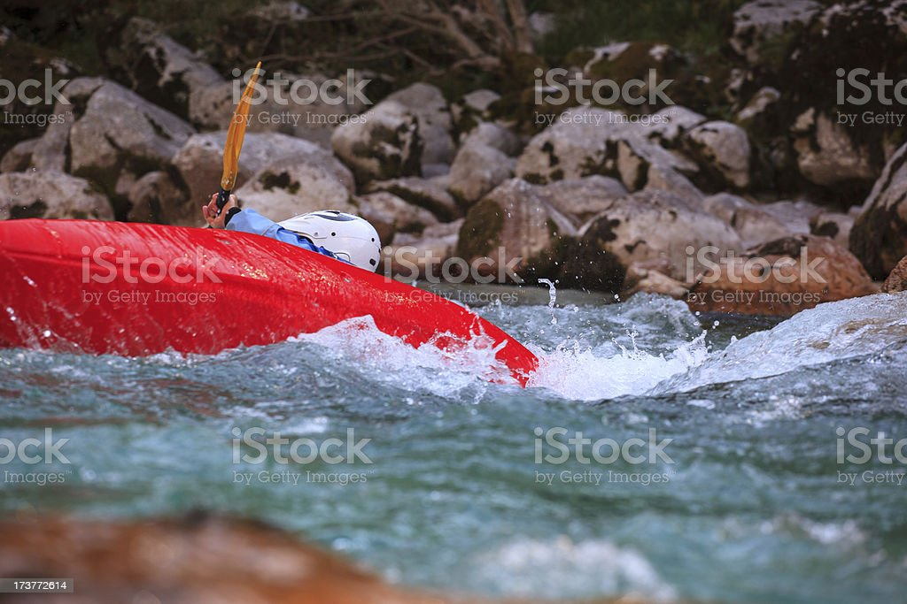 Kayaking on the Soca river, Slovenia royalty-free stock photo