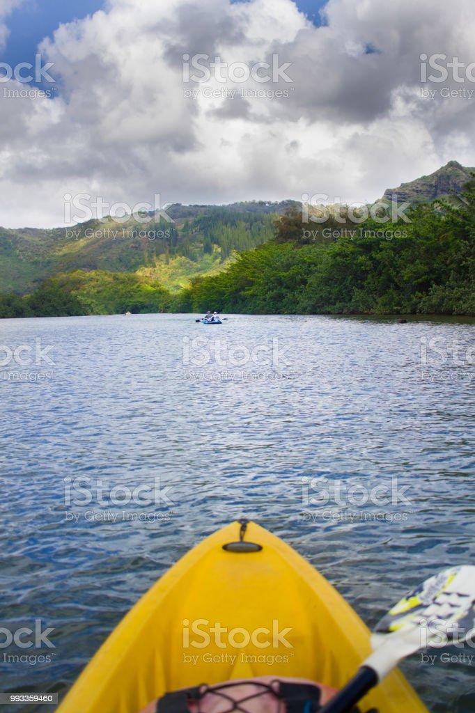 Kayaking On Wailua River In Kauai Hawaii Stock Photo
