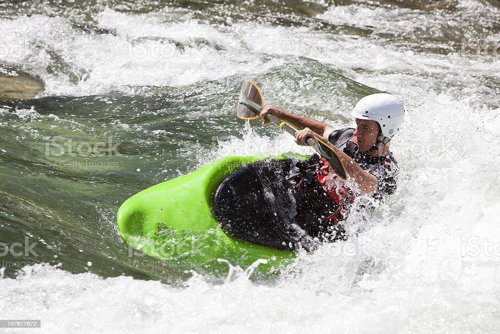 Kayaking river whitewater rapids royalty-free stock photo