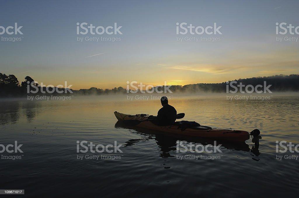 kayaking silhouette stock photo
