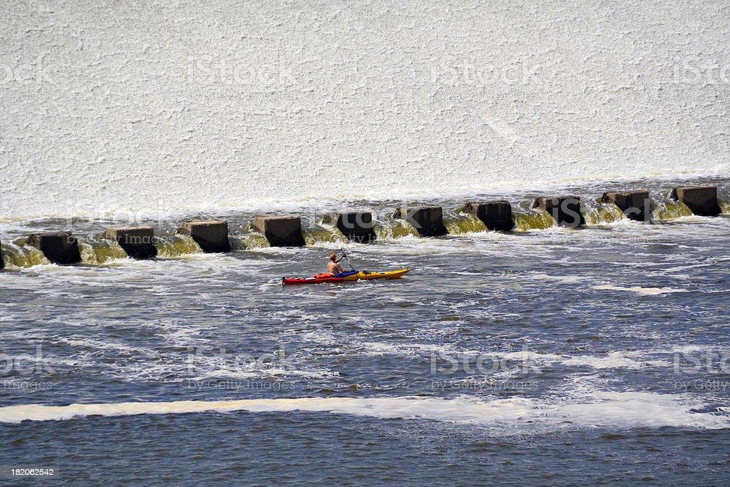 Kayaking St. Anthony Falls royalty-free stock photo