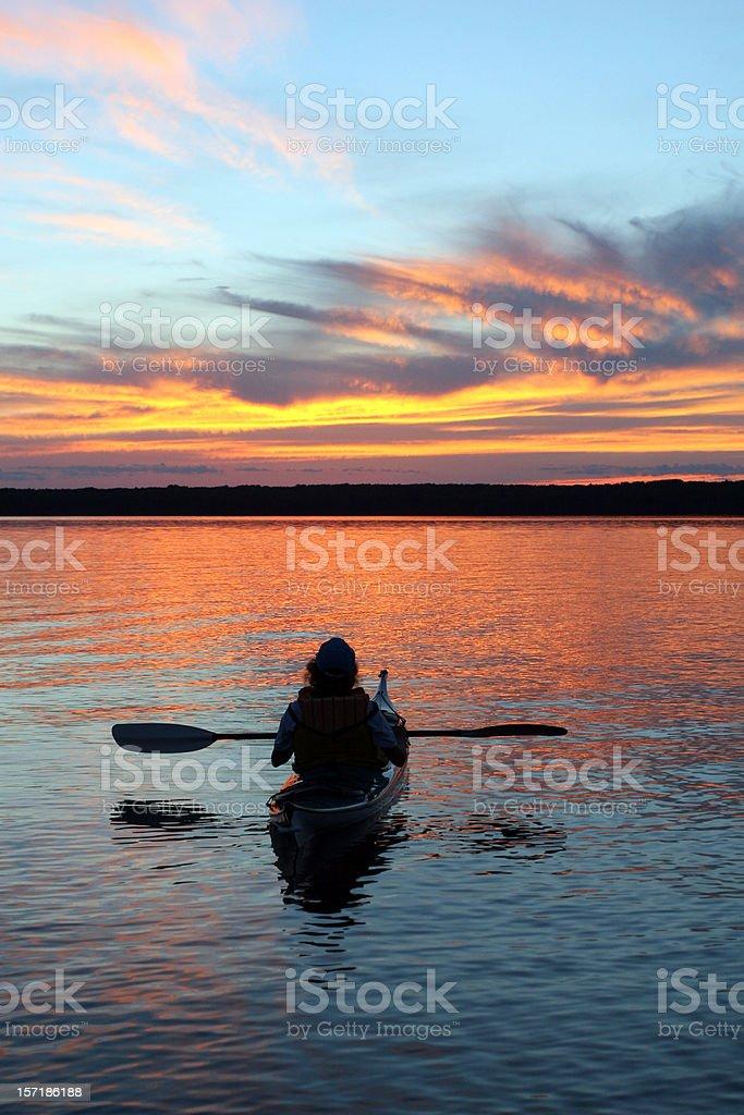 Kayaking Sunset royalty-free stock photo