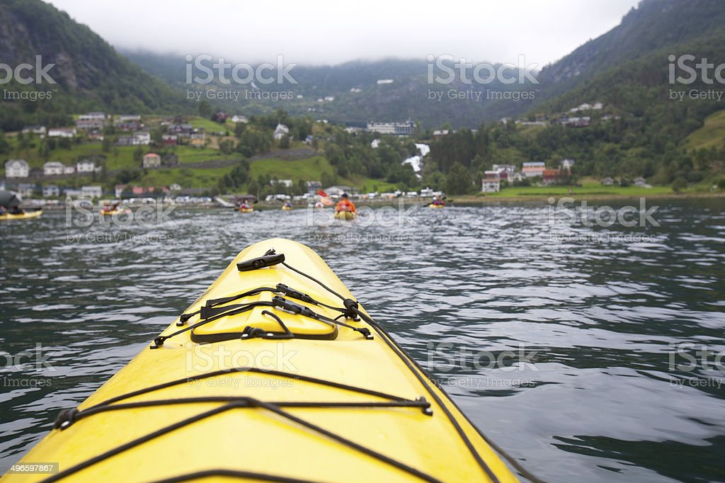 Kayaking the Fjord in Geiranger Norway stock photo