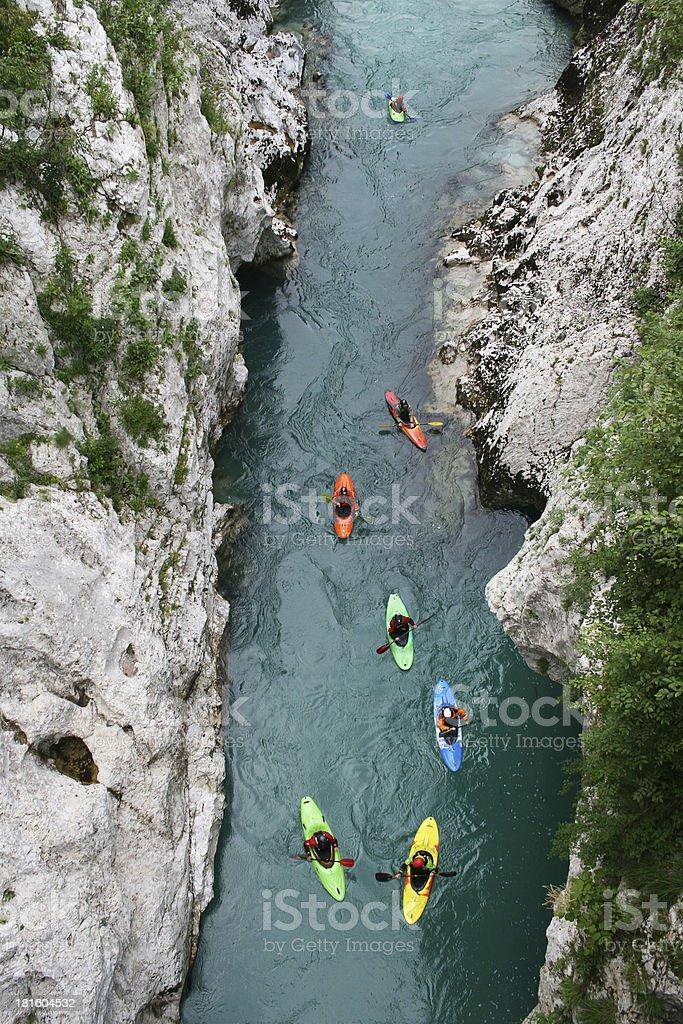 Du kayak au river gorge. Vue du haut - Photo