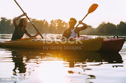 istock Kayaking together is fun. 610865740