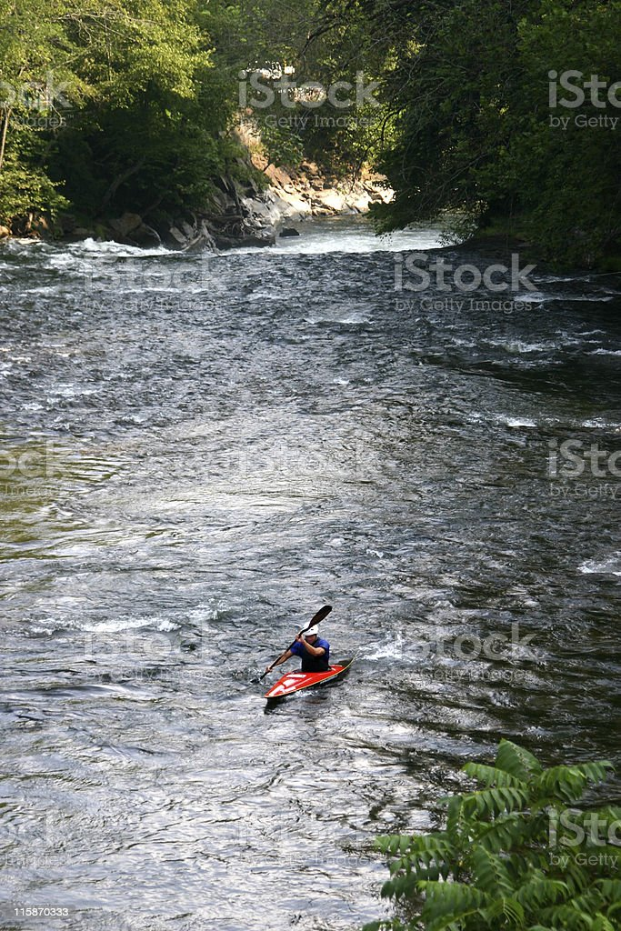Kayaking Up the River stock photo