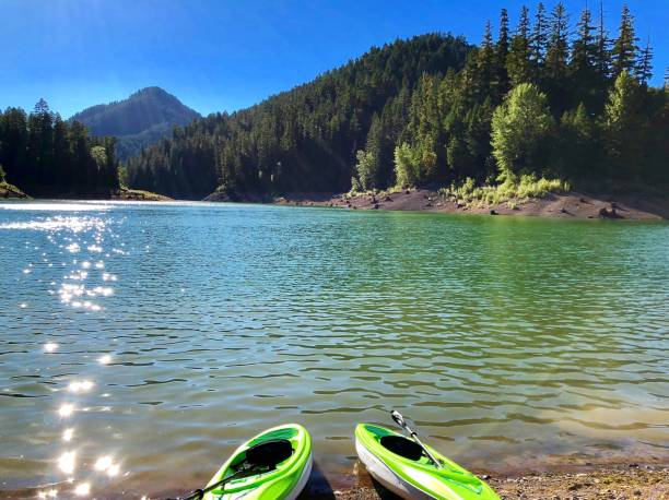 Kayaking Willamette National Forest Hills Creek Reservoir is hidden in the mountains of the Willamette National Forest, in Oregon. national forest stock pictures, royalty-free photos & images