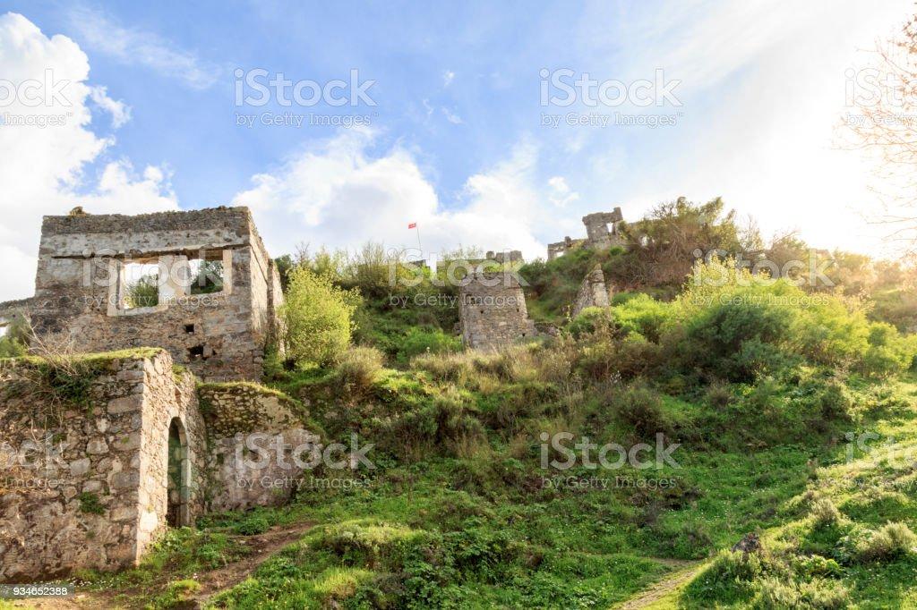 Kayakoy (karmylassos) old greek village in fethiye, Turkey stock photo
