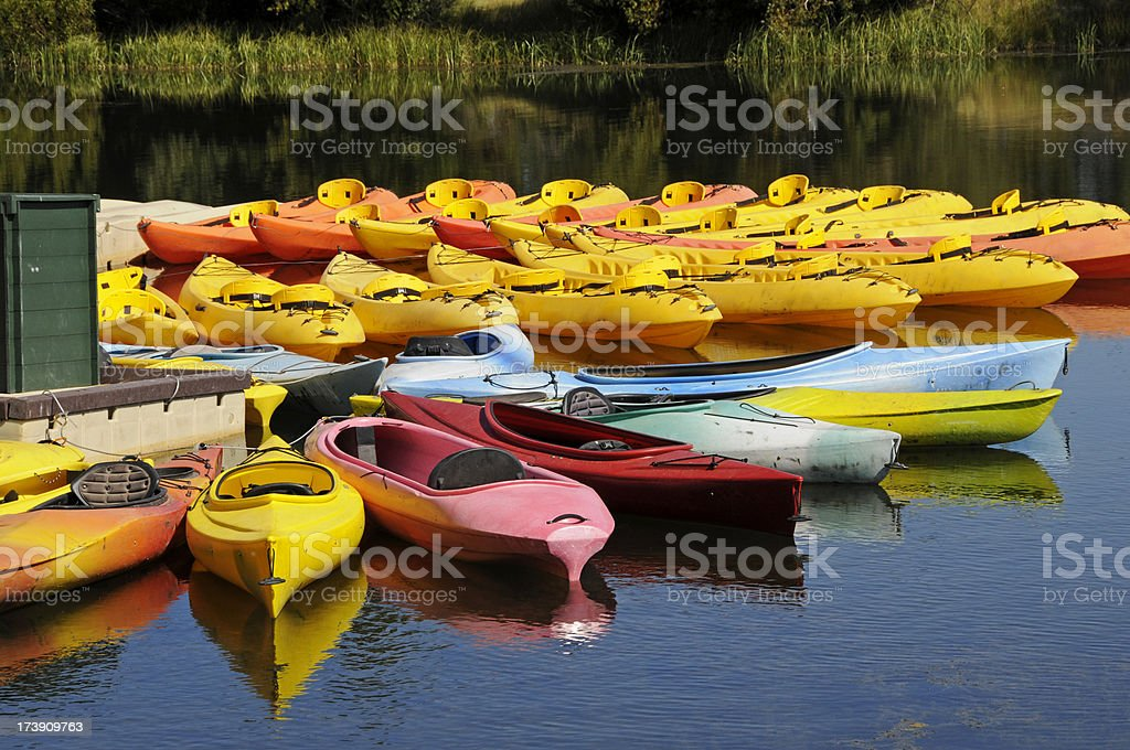 Kayaks and canoes at marina on river in Oregon royalty-free stock photo