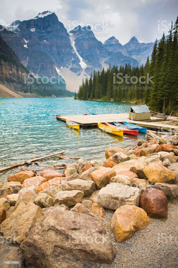 Kayaks at Moraine Lake stock photo
