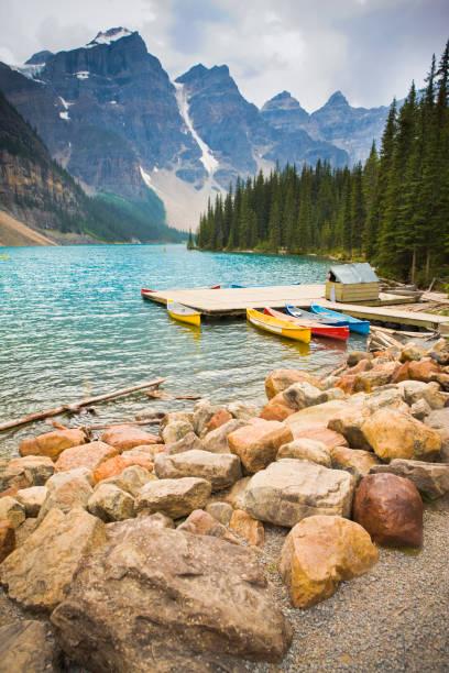 Kayaks at Moraine Lake stock photo