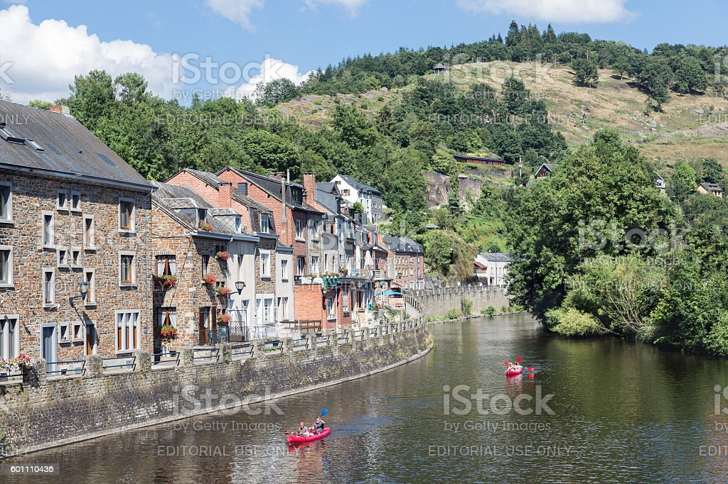 Kayaks at river Ourthe in La Roche-en-Ardenne, Belgium - Photo