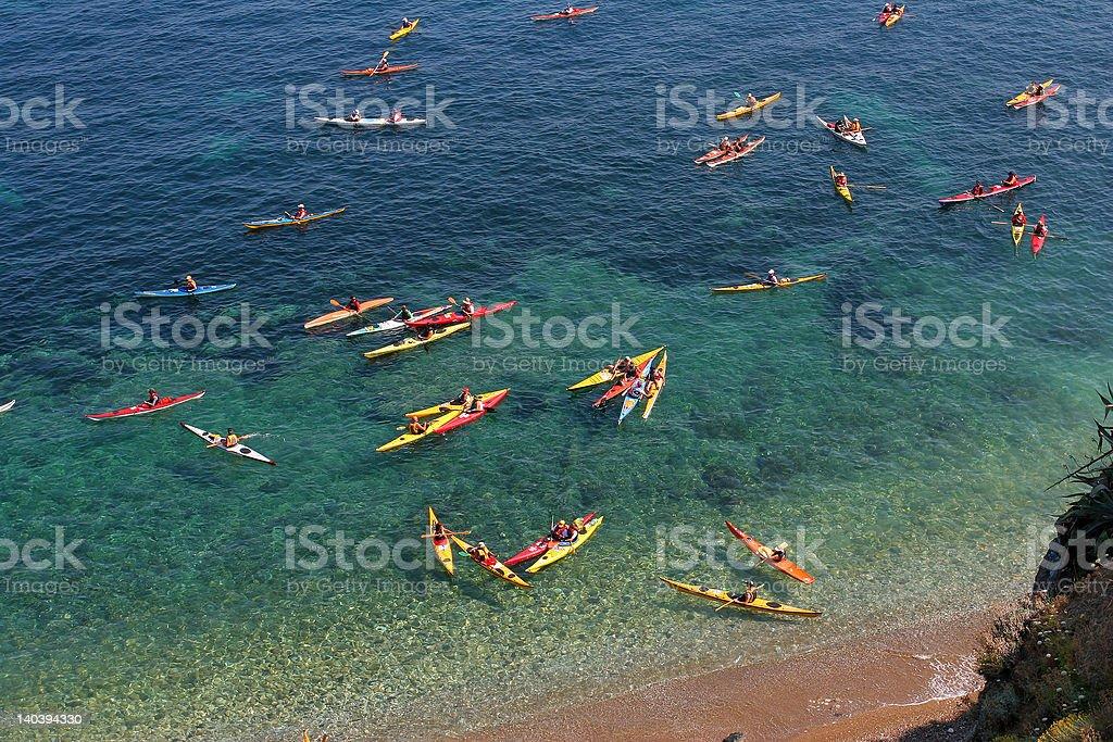Kayaks at sea royalty-free stock photo