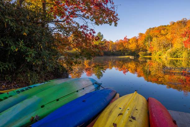 Kayaks at the ready stock photo