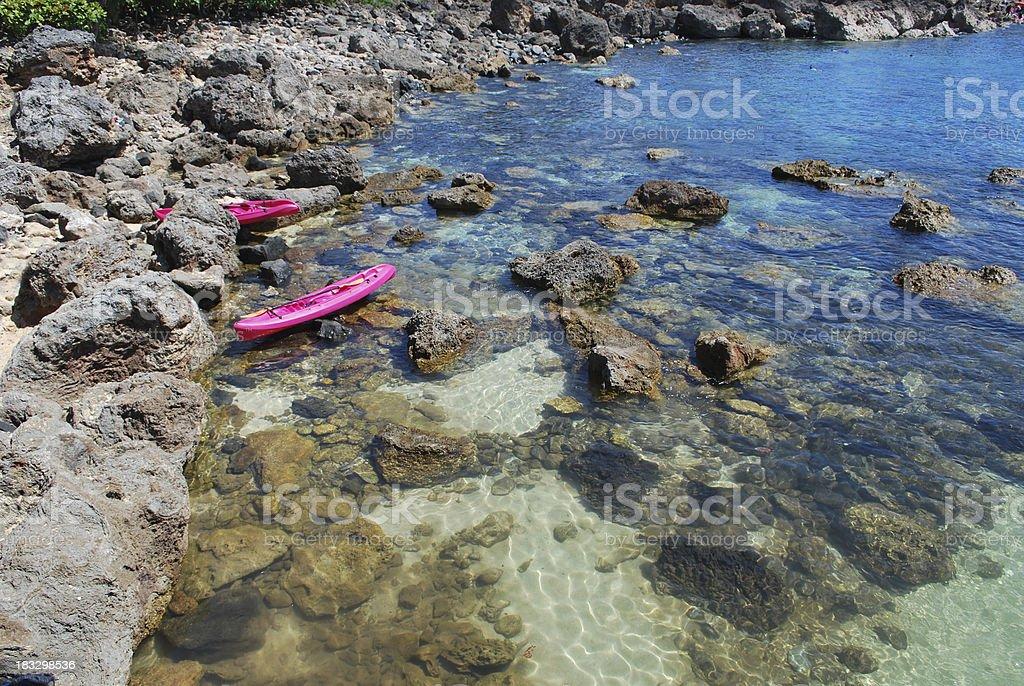 Kayaks at the Sharks Cove stock photo
