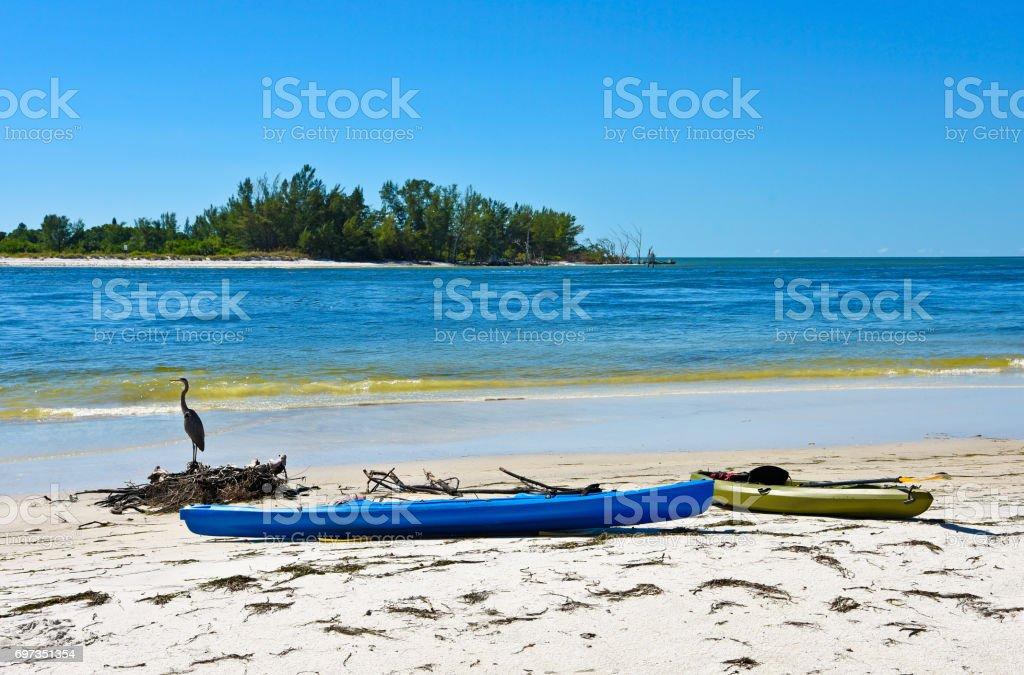 Kayaks on Beach stock photo