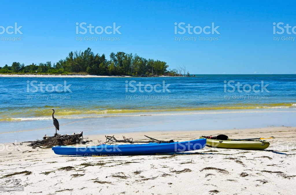 Kayaks on Beach stock photo