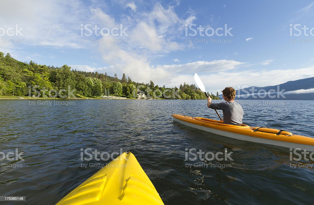 Kayaks on Okanagan Lake stock photo