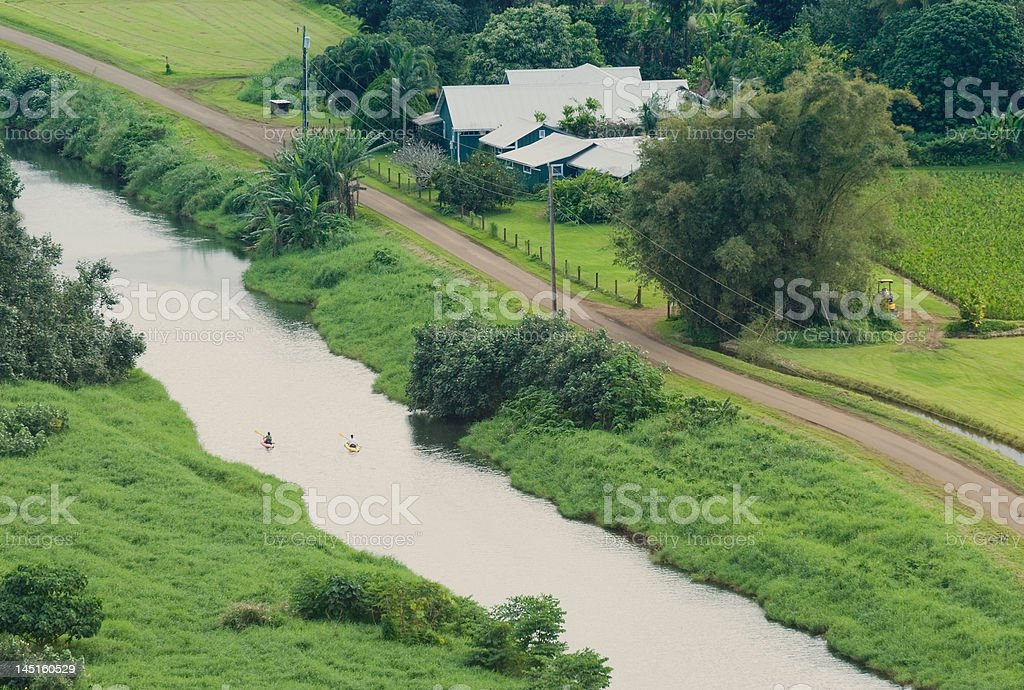 Kayaks On the Hanalei River stock photo