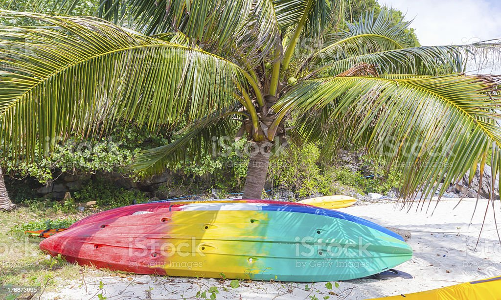 Kayaks on the tropical beach, Thailand royalty-free stock photo