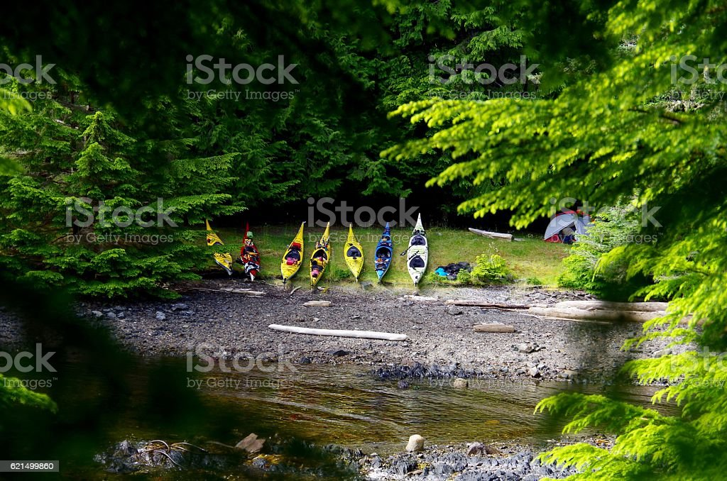 Kayaks pulled up on shore foto stock royalty-free