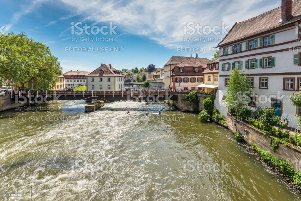 Kayaks slalom on the River Regnitz, Bamberg, Bavaria, Germany stock photo