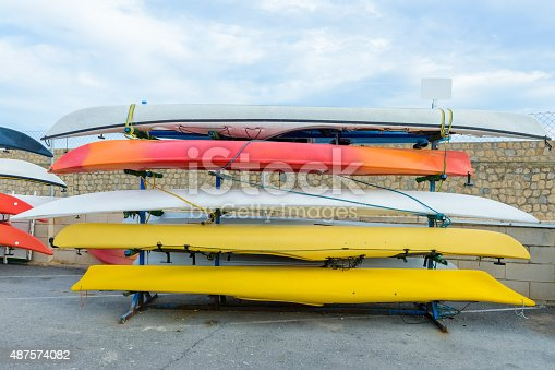 Kayaks stacked on the docks