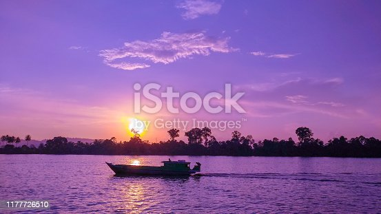 Beautiful sunset with boat