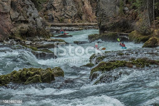 Benham Falls are rapids on the Deschutes River located between Sunriver and Bend, Oregon.  The rapids are rated Class 5.