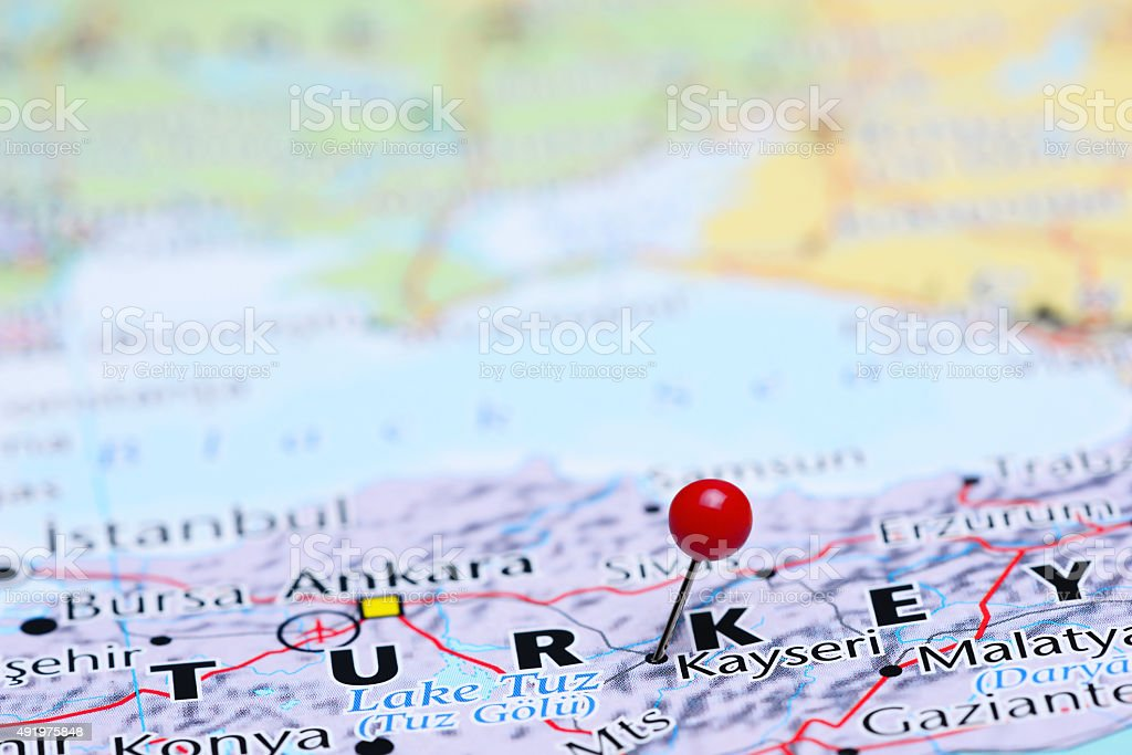 Kayseri pinned on a map of Asia stock photo