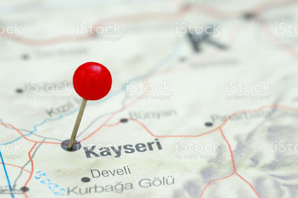 Kayseri pinned on a map of europe stock photo