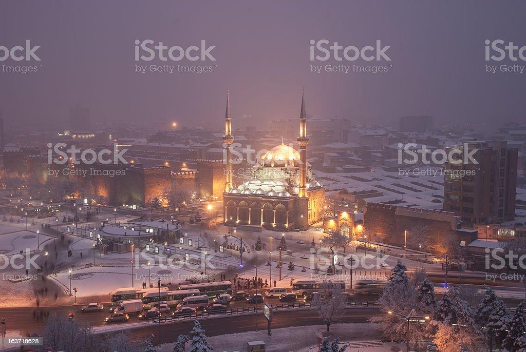 kayseri square on a snowy night stock photo