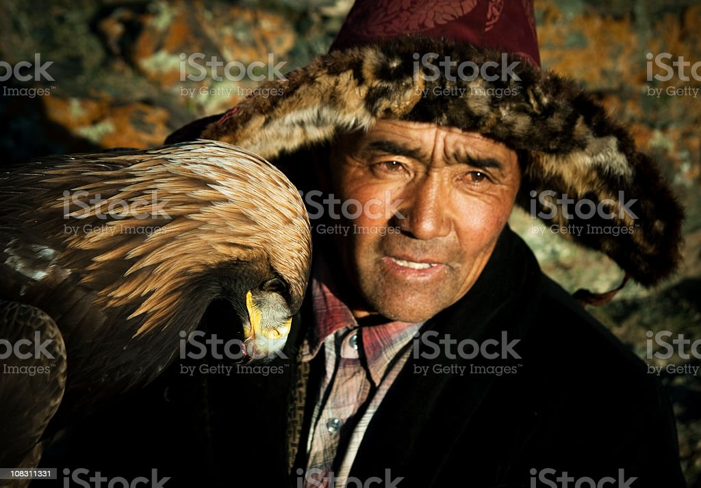 Kazak Eagle Hunter stock photo