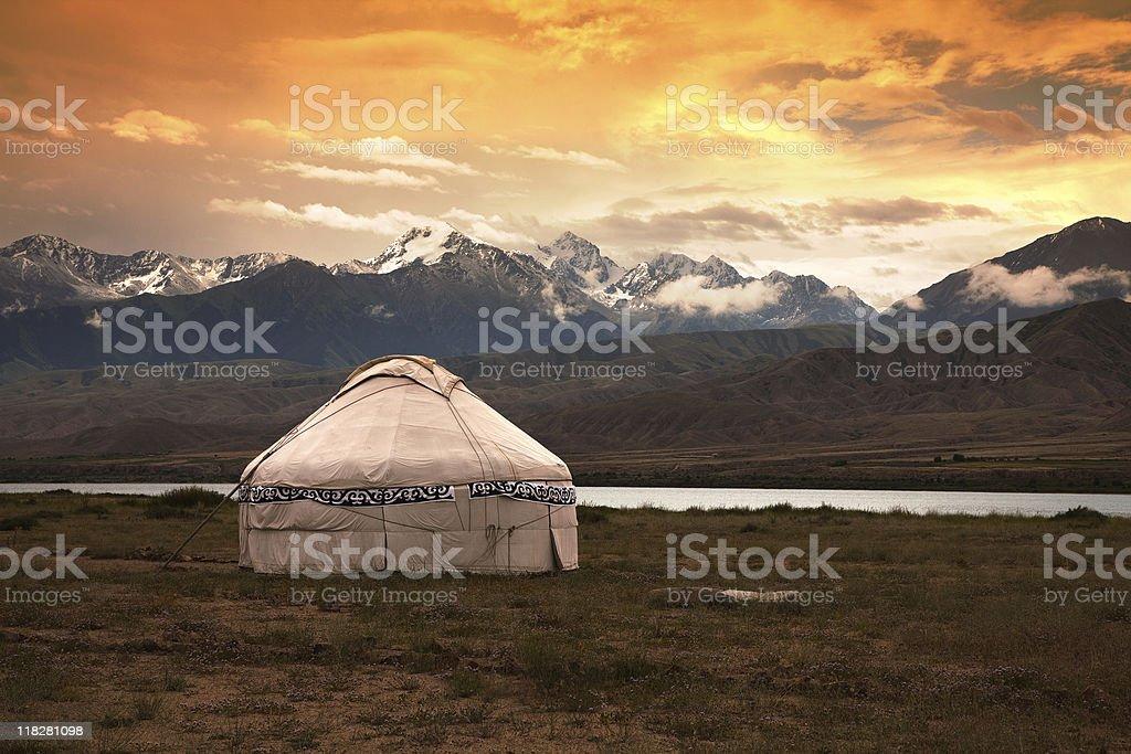 Kazakh jurt stock photo