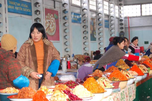 Kasachische Markthändler – Foto