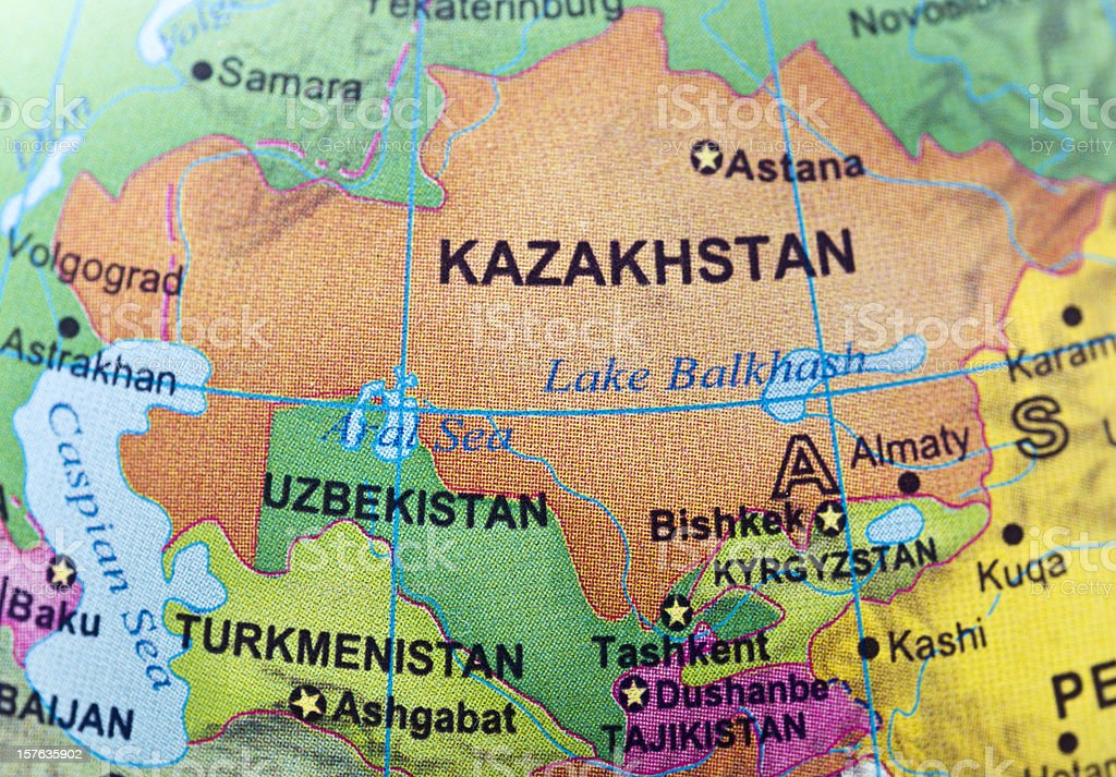 Kazakhstan and neighbor countries royalty-free stock photo