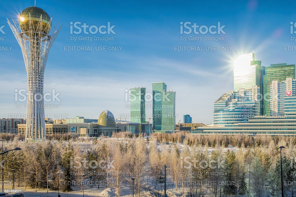 Kazakhstan Astana and Bayterek stock photo