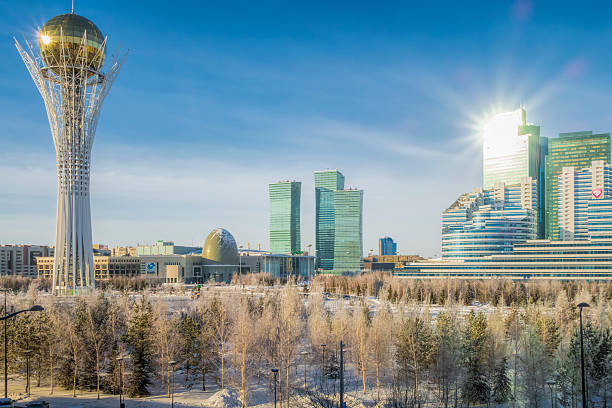 Kazakhstan Astana and Bayterek stock photo