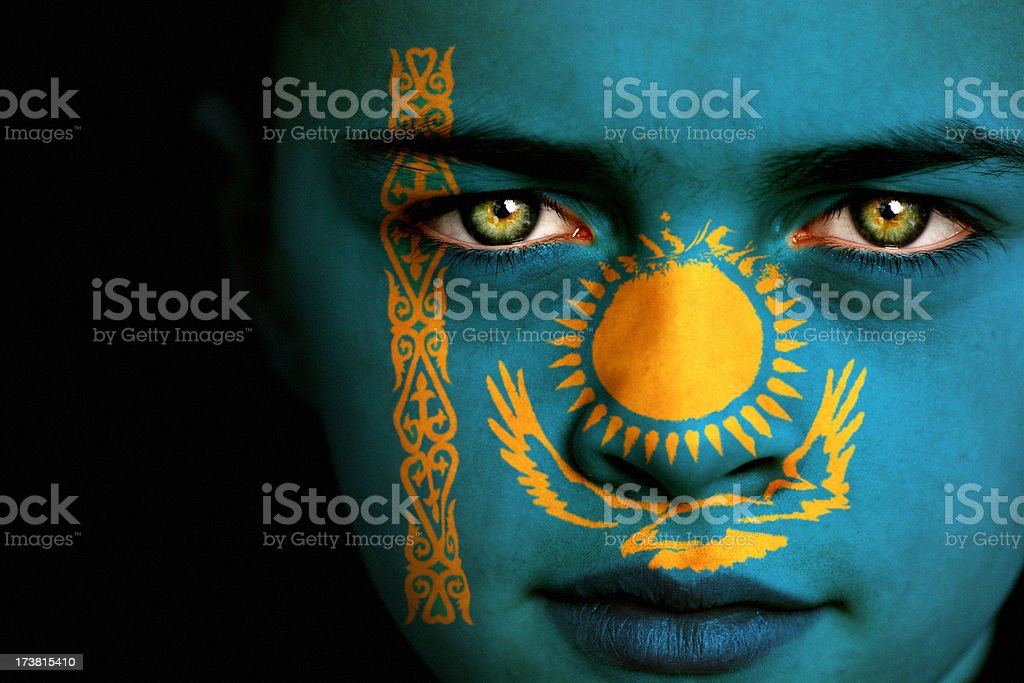 Kazakhstan flag boy royalty-free stock photo